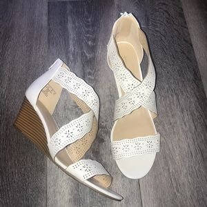 Attention Strappy Eyelet Lace White Wedge Sandals